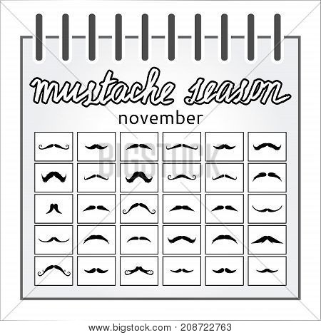 November mustache season calendar movember man poster