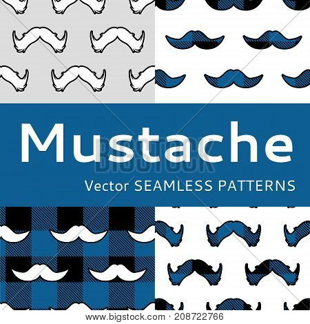 Mustache seamless pattern vector set movember men