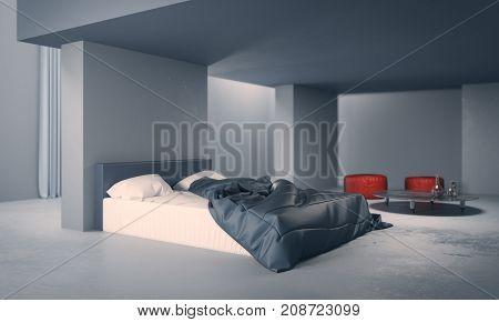 Clean Concrete Bedroom Interior