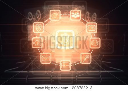 Glowing bitcoin interface on blurry background. Sci-fi concept. Double exposure