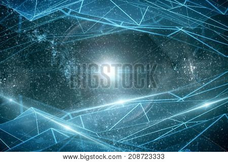 Abstract glowing polygonal network on space background. Innovation concept. 3D Rendering