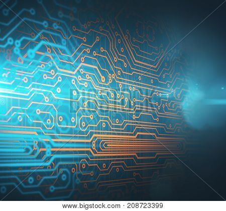 Abstract circuit board background. Electronics concept. 3D Rendering