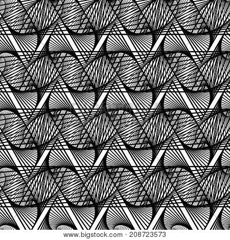 Line Seamless Background. Ornamental Endless Texture. Oriental Geometric Ornament