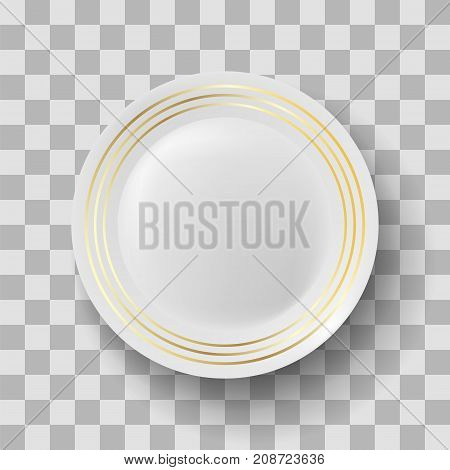 White Ceramic Plate with Gold Yellow Border on Checkered Background