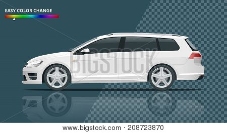 Vector hatchback car. Compact Hybrid Vehicle. Eco-friendly hi-tech auto. Easy color change. Template vector isolated on transparent. View side.