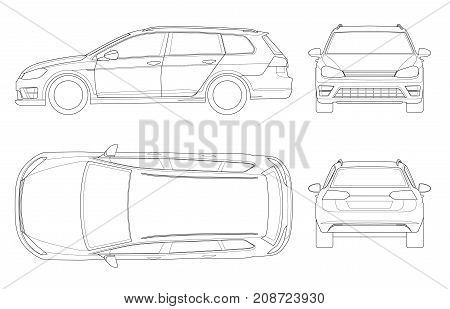 Vector hatchback car in outline. Compact Hybrid Vehicle. Eco-friendly hi-tech auto. Easy to change the thickness of the lines. Template vector isolated on white. View front, rear, side, top