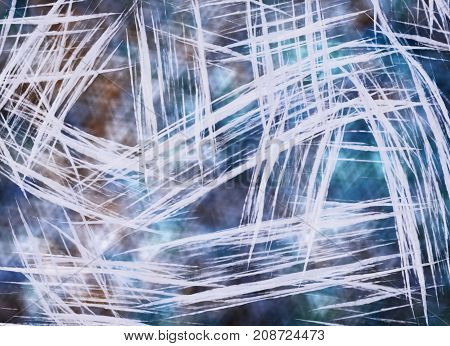 Blue grunge background - texture wallpaper with white stripes and scratches