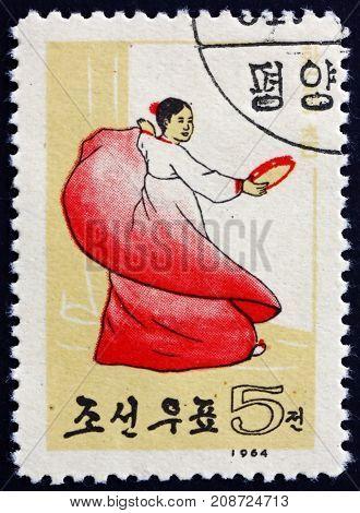 NORTH KOREA - CIRCA 1964: a stamp printed in North Korea shows Dance of Ecstasy Korean Folk Dance circa 1964