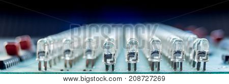 Macro isolated row of LED diodes on motherboard