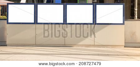 Train station Billboard Blank White Isolated Clipping Path Outdoors Ad Space Advertisement