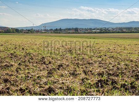 Mountains and Farming land Landscape late summer