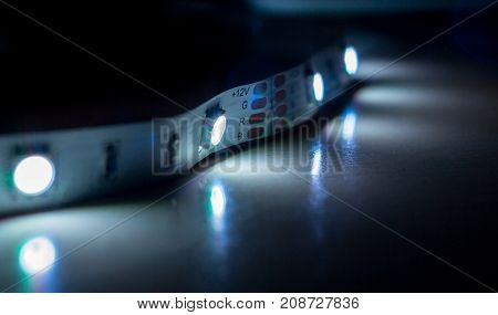 Led strip lights isolated on Black and White Background