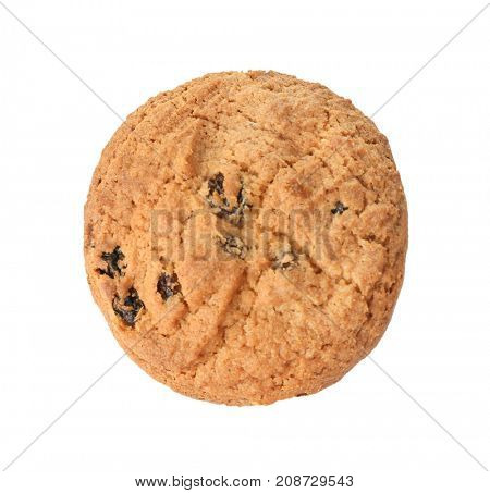 Delicious oatmeal cookie with raisins on white background