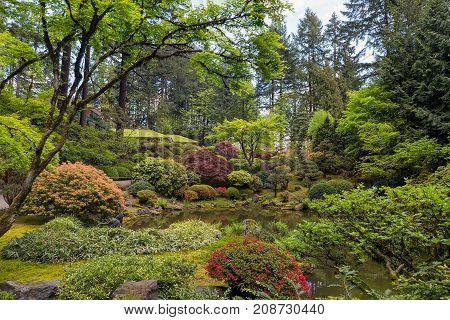 Upper Pond at Portland Japanese Garden in Spring Season