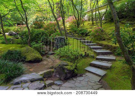 Stone Stair Steps at Portland Japanese Garden in Spring Season