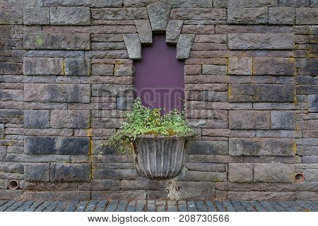 Planter on Old Stone Wall in Renaissance Garden