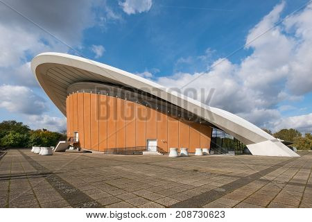Berlin Germany - October 2017: The Haus der Kulturen der Welt (House of the World's Cultures) in Berlin Germany. It is a centre of international contemporary arts.