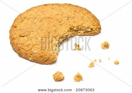 Cookie With Crumbs Side View