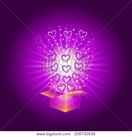 Gift box with red hearts. Magic background with a surprise. Fulfillment of desires. Illustration in violet tones. For holidays Happy Valentine's day happy birthday happy new year etc.