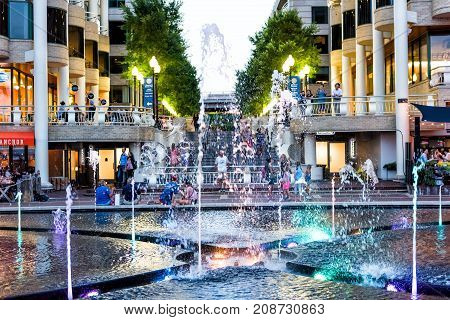 Washington Dc, Usa - August 4, 2017: Closeup View Of Colorful Fountain At Night In Georgetown Waterf