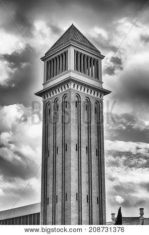 One Of The Venetian Towers, Landmarks In Barcelona, Catalonia, Spain