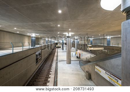 The Underground, Subway Train Station Of The Bundestag (house Of Parliament) In Berlin, Germany