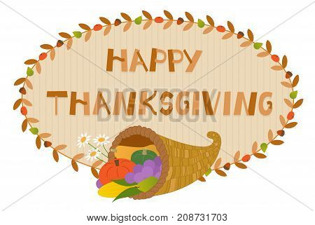 Decorative Happy Thanksgiving sign with cornucopia. Eps10