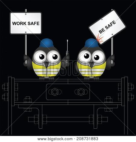 Comical construction workers with health and safety work safe be safe message perched on steelwork isolated on black background