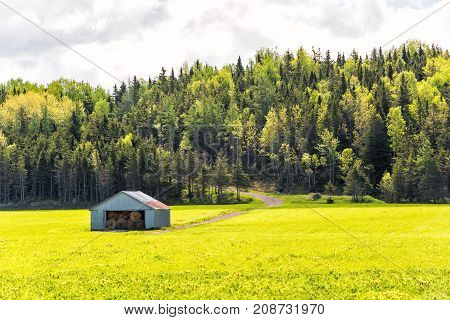 Open Field Meadow With Grass In Countryside Summer With Road Going Up Hill Through Forest And Shed S
