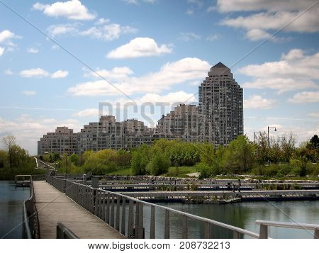 Pond in Humber Bay Park on bank of lake Ontario in Toronto Canada