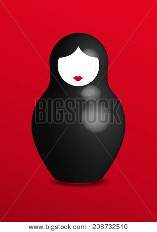 Russian nesting doll matrioshka, 3D icon symbol of Russia, vector isolated or red background