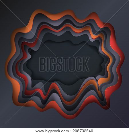 Cut paper Happy Halloween festive abstract background, 3D paper art frame, cut paper texture with colorful paper layers. Holiday invitation background, brochure cover template, business card, craftsmanship, banner, layout vector