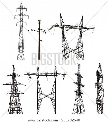 set of electrical pylons isolated on white background