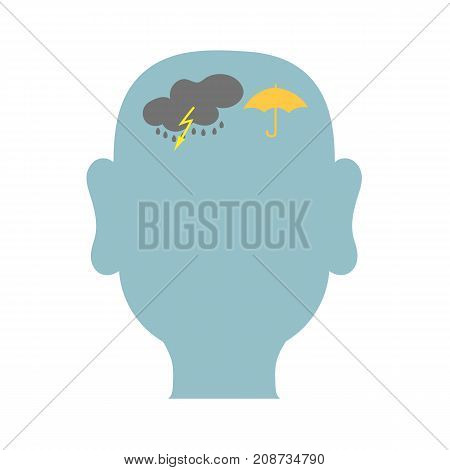 The contour of the male head with a cloud lightning rain and umbrella filled blue background