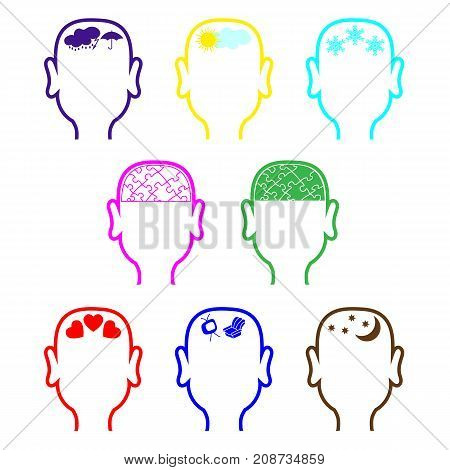 Eight contours of the male heads in different colors