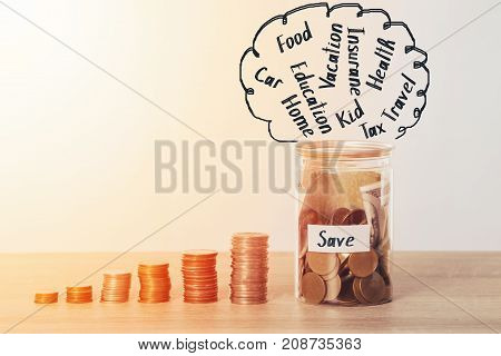 Saving money, coin stack with coin and bank in moneybox for Saving money plan for Budget. poster