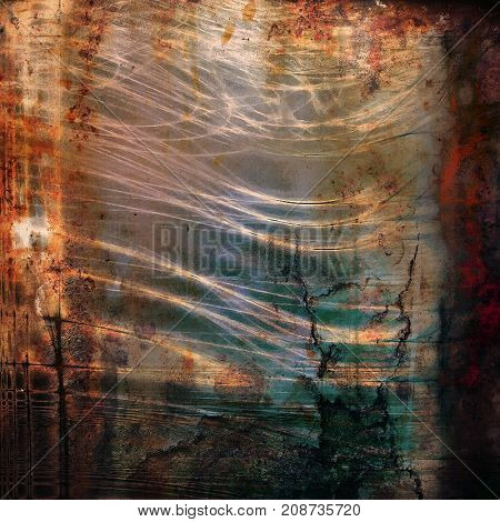 Vintage and retro design elements on faded grunge background. With different color patterns