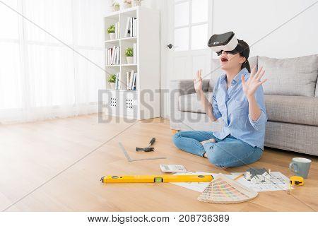 Cheerful Woman Wearing Virtual Reality Glasses