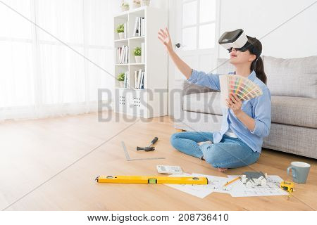 Smiling Young Woman Wearing Vr Technology Goggles