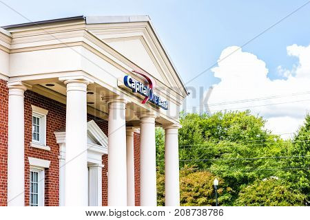Fairfax, Usa - September 15, 2017: Capital One Bank Branch Entrance With Sign And Columns In Old Tow