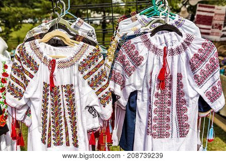 Display Of Embroidered Ukrainian Slavic Women Traditional Shirts Embroidery Clothing In Outdoor Flea