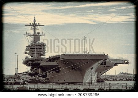 Naval Aircraft Carrier Ship in Sepia Tones with Boarder