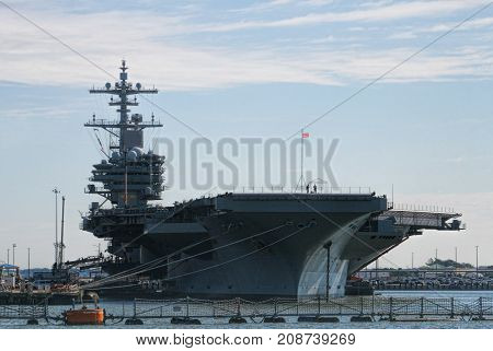 US Military Naval Aircraft Carrier Ship in Port