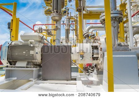 Centrifugal pump in oil and gas processing platform used for transfer liquid condensate in oil and gas central processing platform.