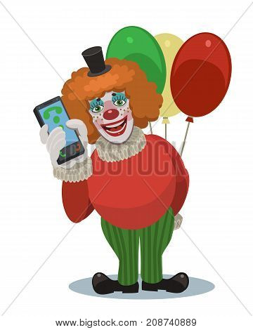 Clown with balloons laughing, he calls you on your mobile phone, it is happy holidays your children, friends, relatives and loved ones!