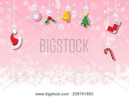 Various hanging Christmas ornaments such as Christmas bauble santa hat reindeer angel heart present and Christmas tree on pink background with snowflake