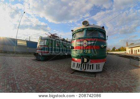 Kharkov, Ukraine - October 11, 2017: Modern Electric Trains In The Kharkov Railway Museum. Strong Di