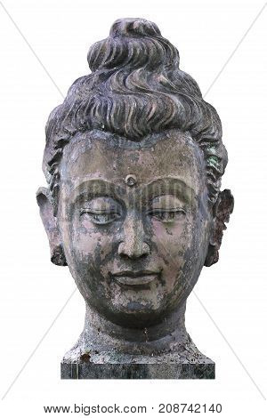 400 years old of ancient head stone buddha statue at historical museum Thailand, art crafting sculpture isolated on white backgrounds, head, face, lobe, ear, hair, nose