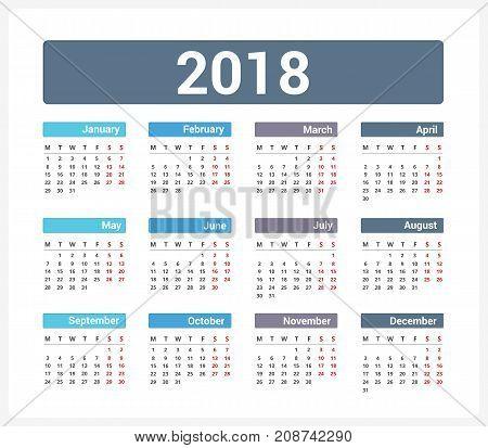 2018 Calendar, week starts on Monday, vector eps10 illustration