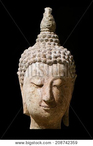 400 years old of ancient head stone buddha statue at historical museum Thailand, art crafting sculpture isolated on black backgrounds, head, face, lobe, ear, hair, nose